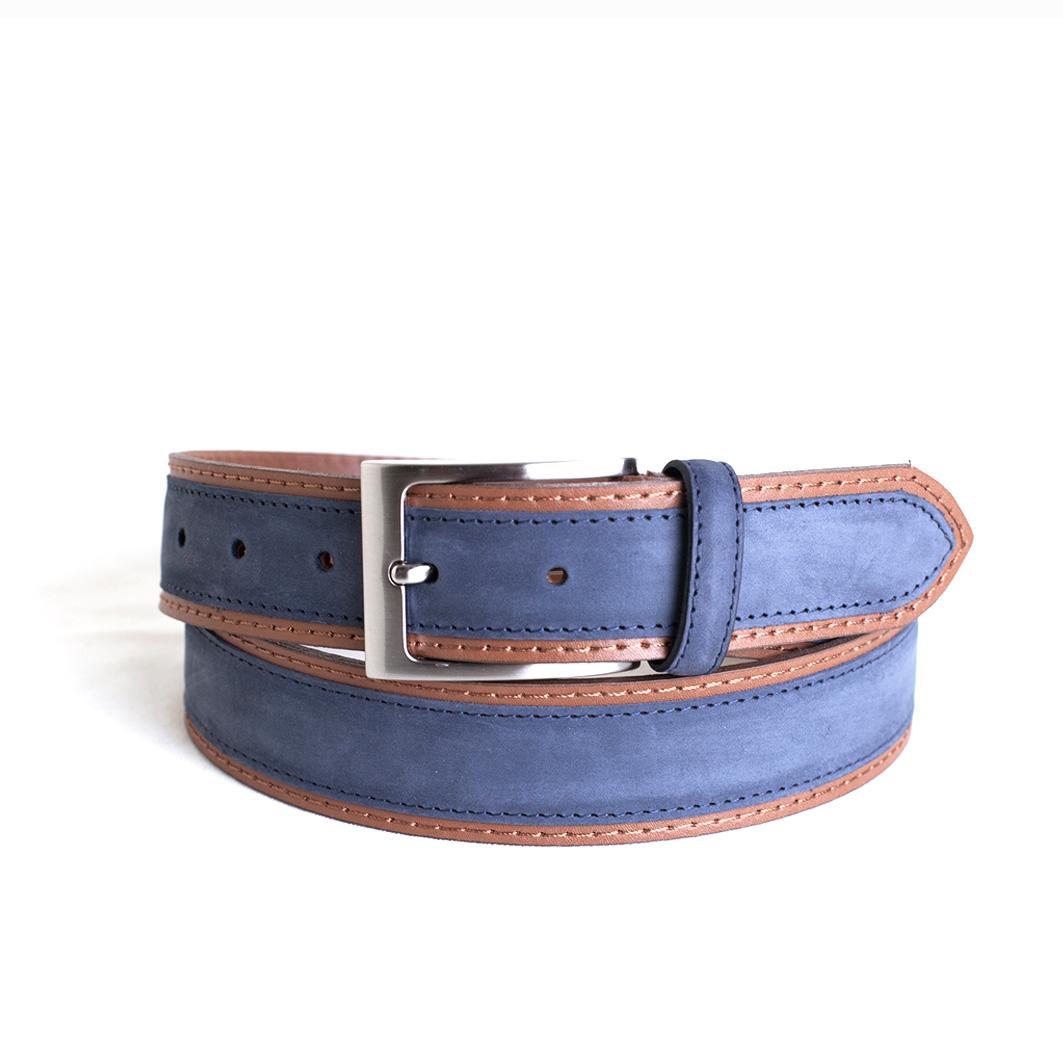 venta caliente online 60767 36edf cinturón nobuck combinado azul