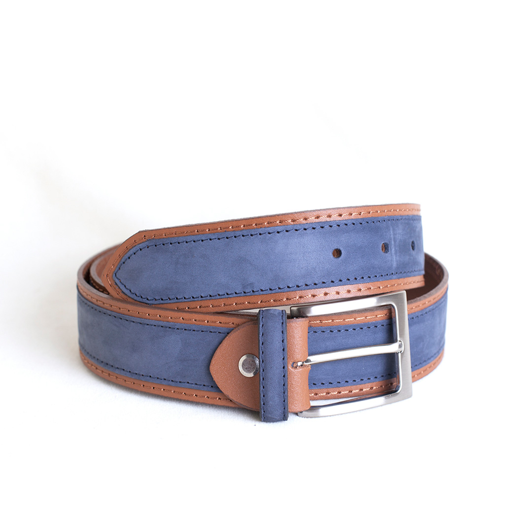 venta caliente online 6f5ce fe67e cinturón nobuck combinado azul